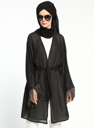 Püskül Detaylı Kimono - Siyah
