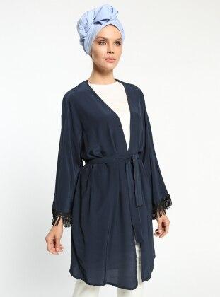 Püskül Detaylı Kimono - Lacivert