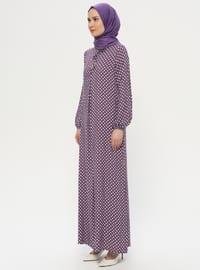 Mor - Noktalı - Yuvarlak yakalı - Astarsız kumaş - Elbise - BAGİZA