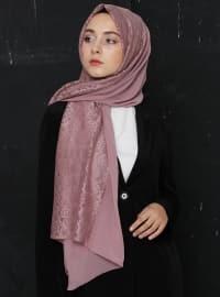 Pink - Plain - Lace - Chiffon - Shawl - Eşarp