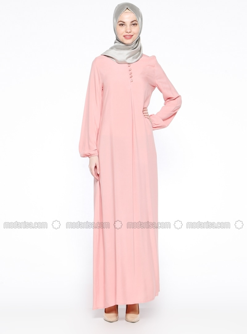 Pink - Crew neck - Unlined - Dress