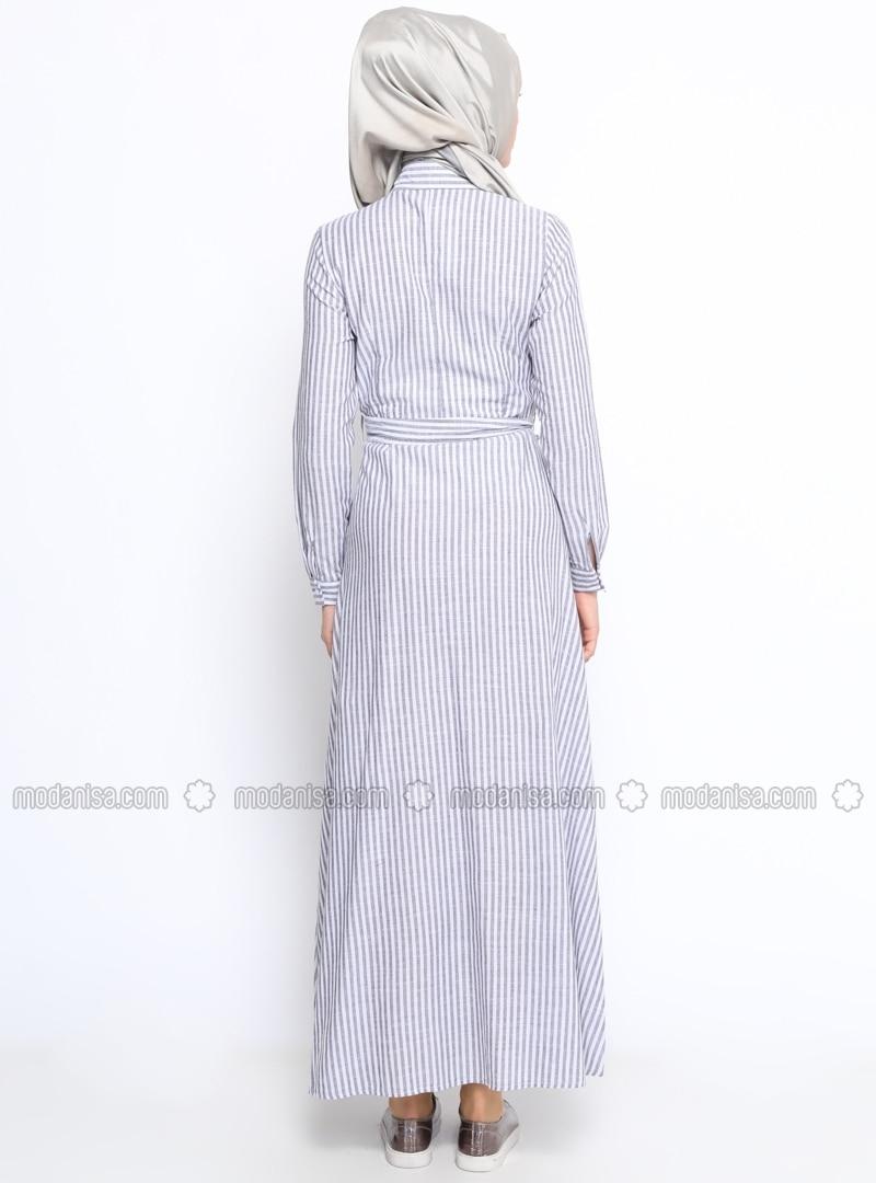 schwarz wei ekru gestreift spitzer kragen ohne innenfutter hijab kleid bwest. Black Bedroom Furniture Sets. Home Design Ideas