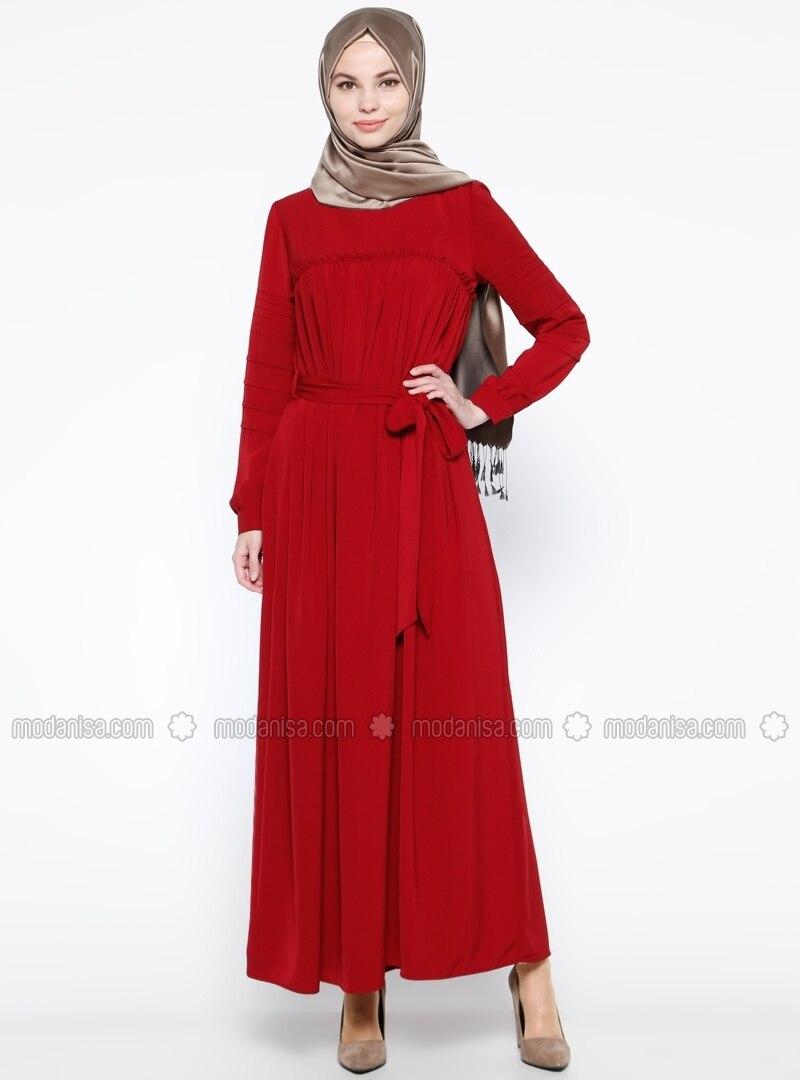 63a21d2d0465a Drape Detaylı Elbise - Bordo