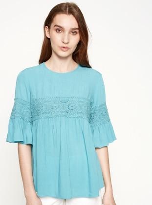 Dantel Detaylı Bluz - Mavi Koton