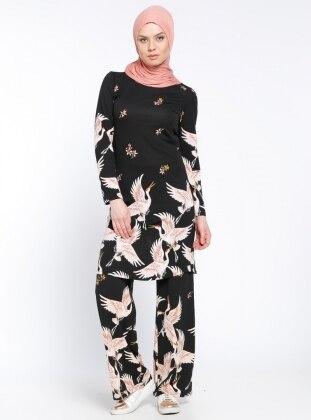 Desenli Bol Paça Pantolon - Siyah Dadali