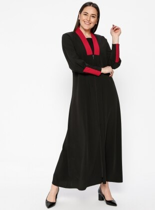 Black - Pink - Purple - V neck Collar - Unlined - Plus Size Abaya
