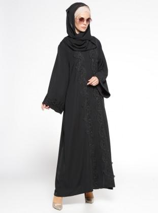 Fransız Dantelli Abaya - Siyah