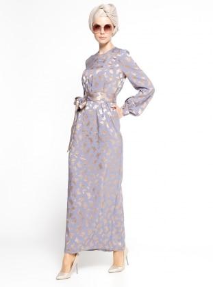 Mustafa Dikmen Kelebek Abiye Elbise - Lila Vizon