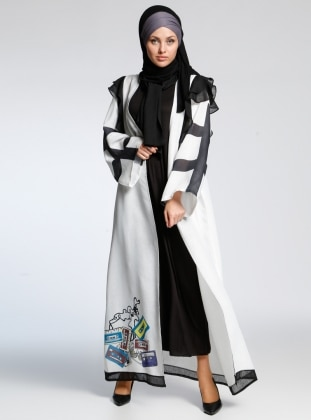 AJAL Kolsuz Elbise&Abaya İkili Takım - Beyaz Siyah