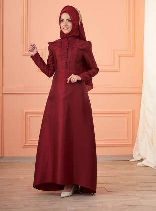Mevra Lola Abiye Elbise - Bordo