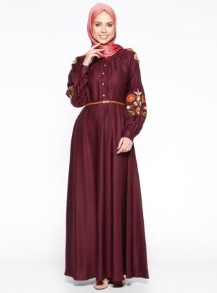 CML Collection Nakış Detaylı Elbise - Bordo