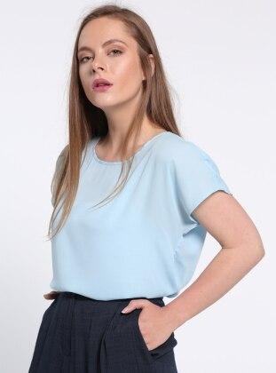 Şifon Bluz - Mavi Koton