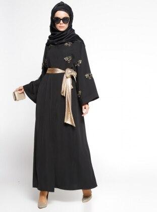 Taş Süslemeli Kuşaklı Abaya - Siyah