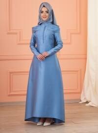 Mevra Lola Abiye Elbise - İndigo - Mevra