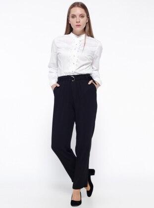 Beli Lastikli Pantolon - Siyah Koton