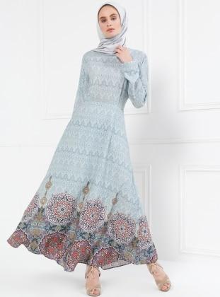 Desenli Elbise - Bebe Mavisi