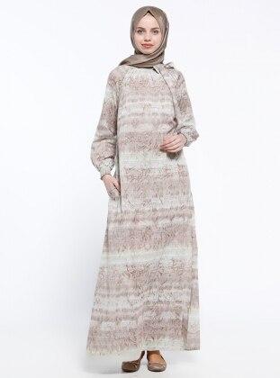 ModaNaz Gipeli Elbise - Kahverengi