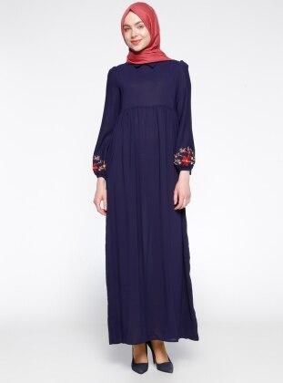 Nakış Detaylı Elbise - Mor