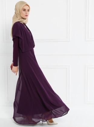 Şifon Parçalı Elbise - Mürdüm