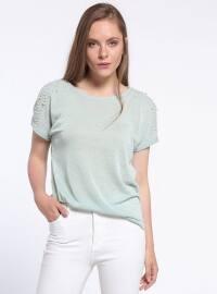 İnci Detaylı Bluz - Mint Yeşili - Koton
