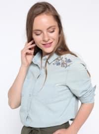 Nakışlı Kot Gömlek - Açık İndigo - Koton