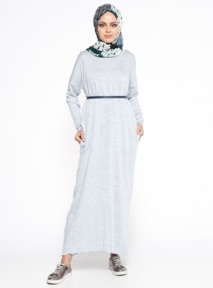 Cepli Mevsimlik Elbise - Mavi