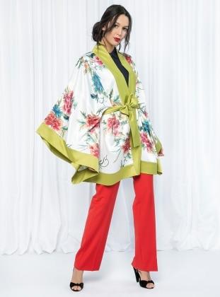 Store Wf Çiçek Desenli Kimono - Yeşil