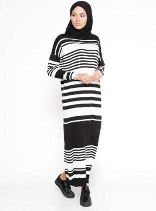 Çizgili Mevsimlik Elbise - Siyah
