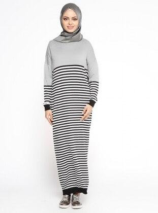 Çizgili Triko Elbise - Gri Siyah