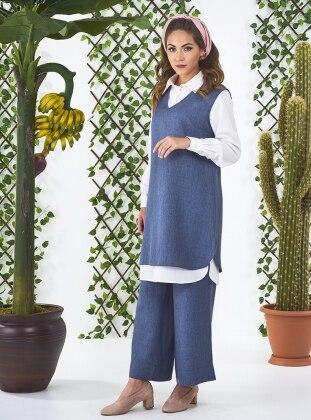 Royel Kolsuz Tunik&Pantolon İkili Takım - İndigo Mishela Noor