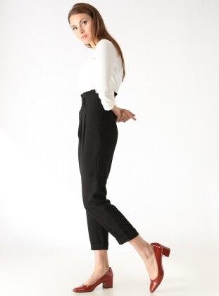 Yüksek Bel Pileli Pantolon - Siyah