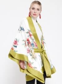 Çiçek Desenli Kimono - Yeşil - Store Wf