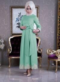 Dantel Detaylı Abiye Elbise - Mint Yeşili - İz Otantik