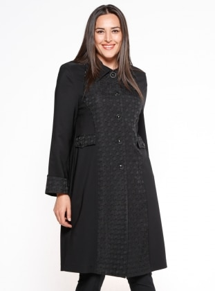 Düğmeli Uzun Ceket - Siyah - he&de