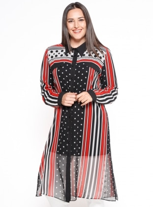 İkili Tunik Takım - Siyah Kırmızı - he&de Ürün Resmi
