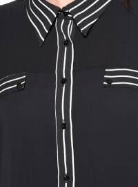Black - White - Stripe - Point Collar - Plus Size Tunic