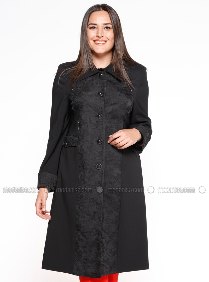 Black - Unlined - Point Collar - Plus Size Jacket