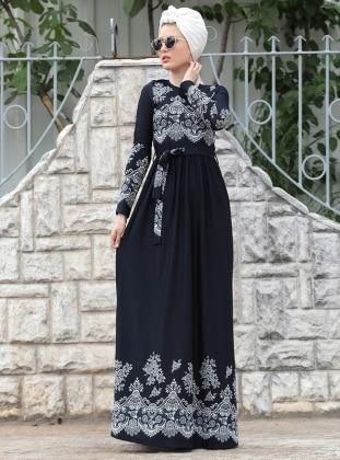 Dantel Detaylı Simay Elbise - Lacivert