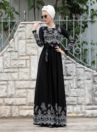 Dantel Detaylı Simay Elbise - Siyah