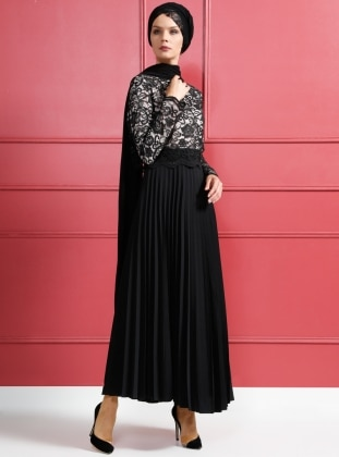 Dantelli Abiye Elbise - Pudra Siyah