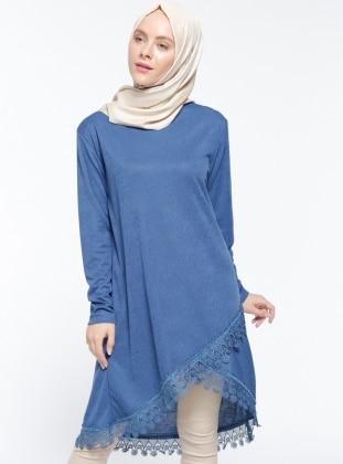 Güpür Aplikeli Tunik - Mavi Dadali