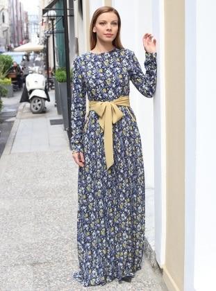 Main Elbise - Lacivert Sarı ÂRÂ Zeynep Bilyay