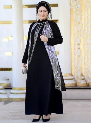 Aysima Abiye Elbise - Siyah Gümüş