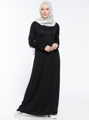 Black - Crew neck - Unlined - Dress - Dadali 299465