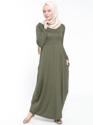 Cep Detaylı Elbise - Haki Dadali