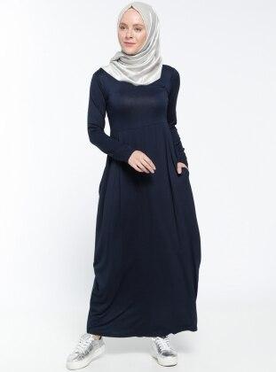 Cep Detaylı Elbise - Lacivert Dadali