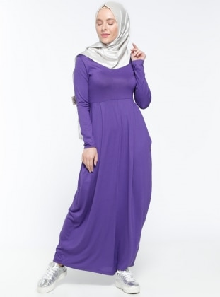 Purple - Crew neck - Unlined - Dress - Dadali 299468