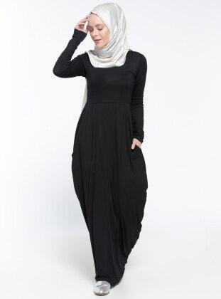 Cep Detaylı Elbise - Siyah Dadali
