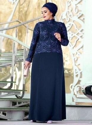 Dantel İşlemeli Abiye Elbise - Lacivert