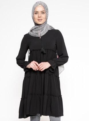 Beha Fırfırlı Tunik - Siyah